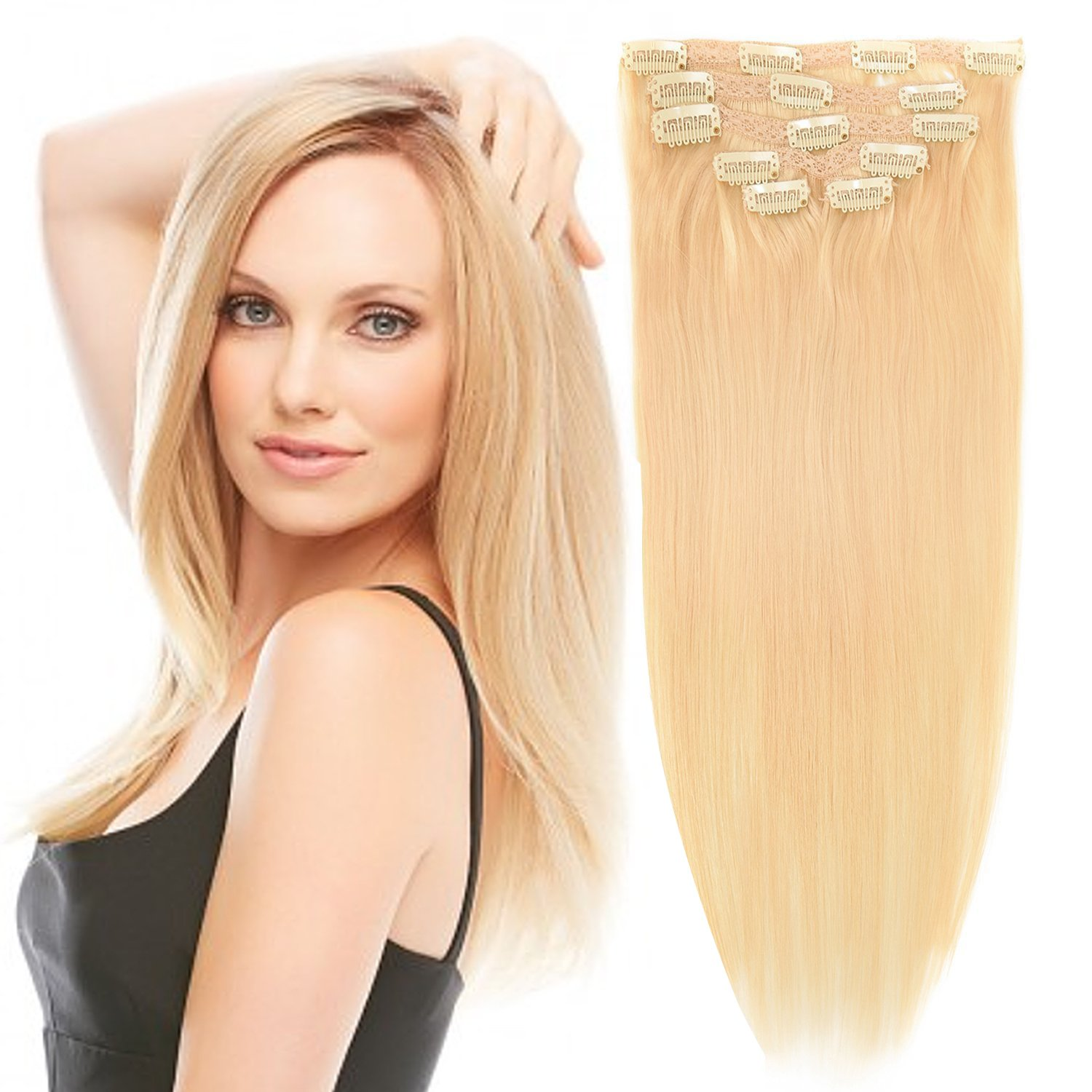 Amazon 18 Clip In Remy Human Hair Extensions Bleach Blonde