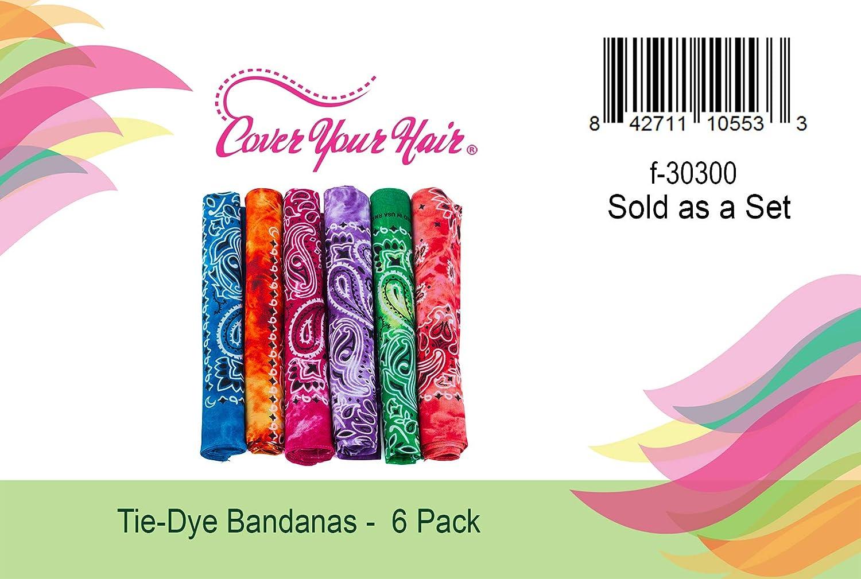 CoverYourHair Tie Dye Bandana Paisley Bandanas Colorful Bandanas 6 Pack Cotton Bandana