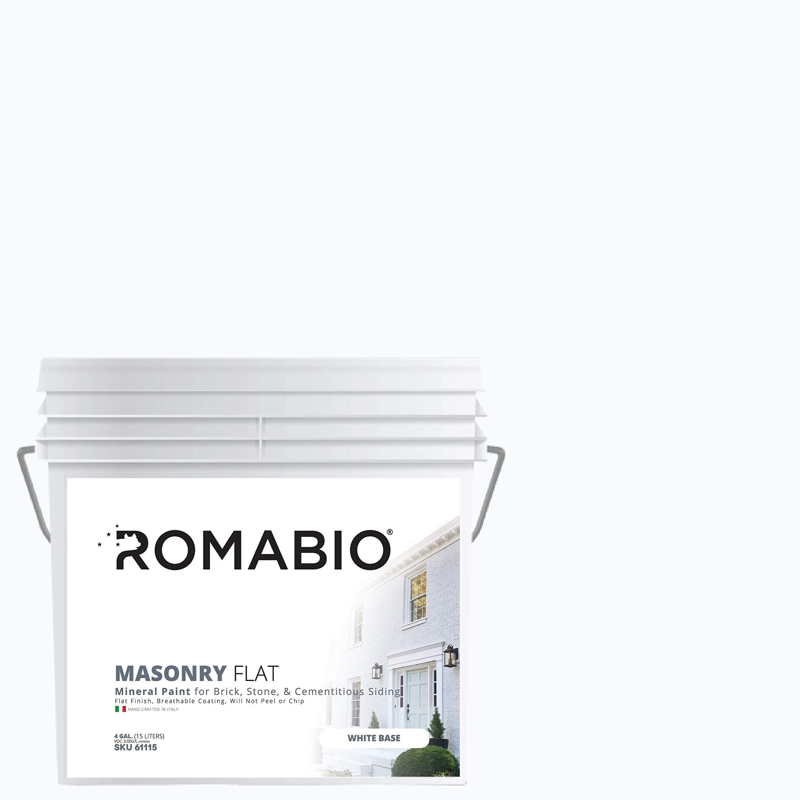 Romabio Masonry Flat, Italian Mineral Paint for Brick, Stone & Cementitious Siding, Richmond White, 15L/4GAL
