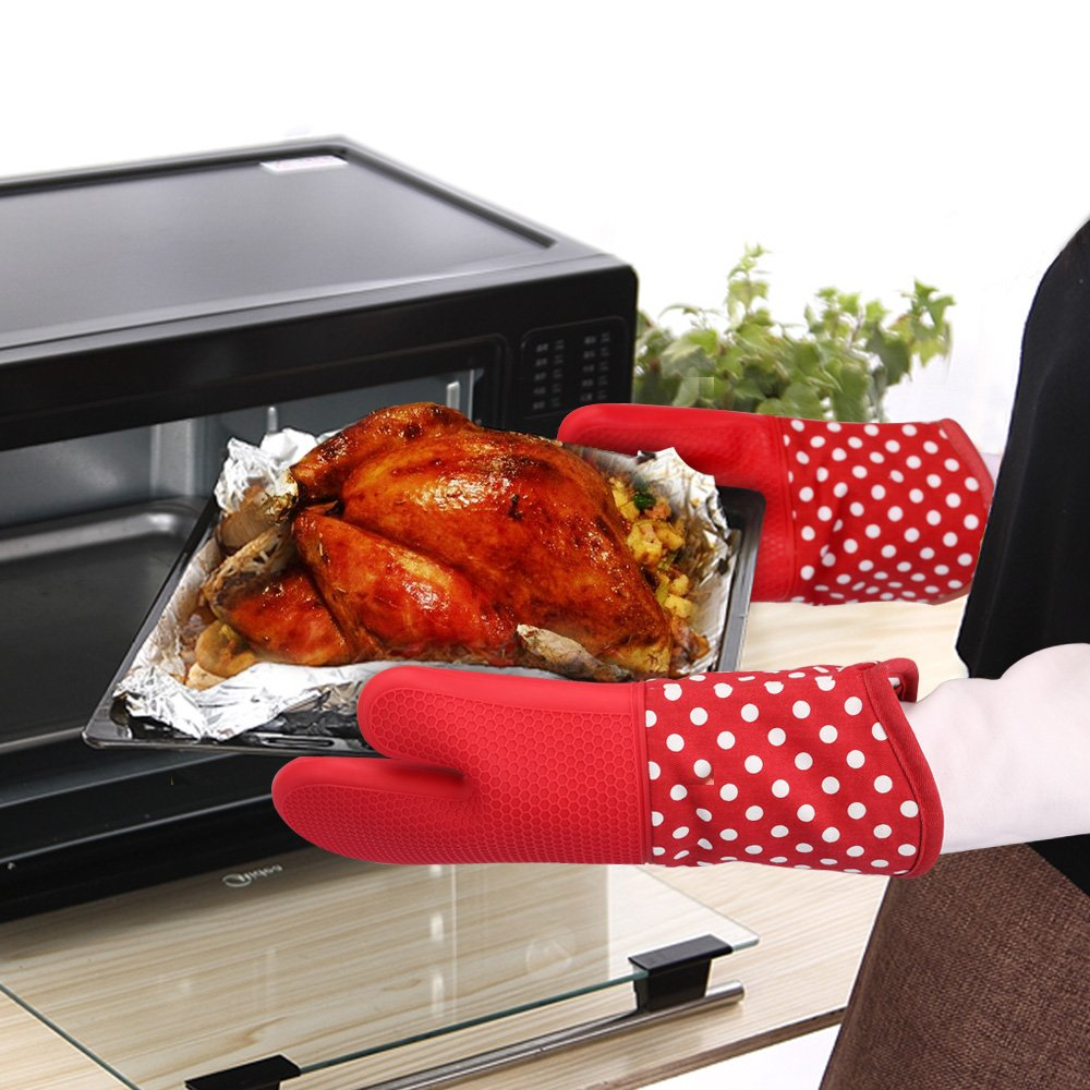 KEDSUM Heat Resistant Silicone Oven Mitts, 1 Pair of Extra Long Potholder Gloves with Bonus 1 Pair of Mini Cooking Pinch Grips, Non-Slip Cotton Lining Kitchen Glove for Baking, Barbeque, Red by KEDSUM (Image #6)