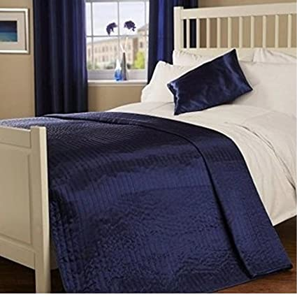 345f1d7d04f0d Luxury Plain Ribbed Faux Silk Satin Shine Quilted Bedspread Throw Blanket  Coverlet (Navy Blue, Double): Amazon.co.uk: Kitchen & Home