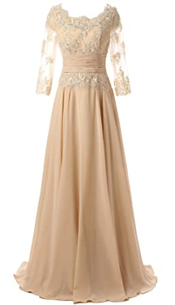 Butmoon Womens 3 4 Sleeve Lace Up Long Mother Of The Bride Dress Champagne US0