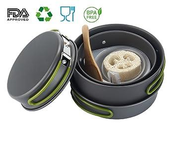 Outdoor Küche Wandern : Aolvo camping kochgeschirr set compact wandern kochen equipment für