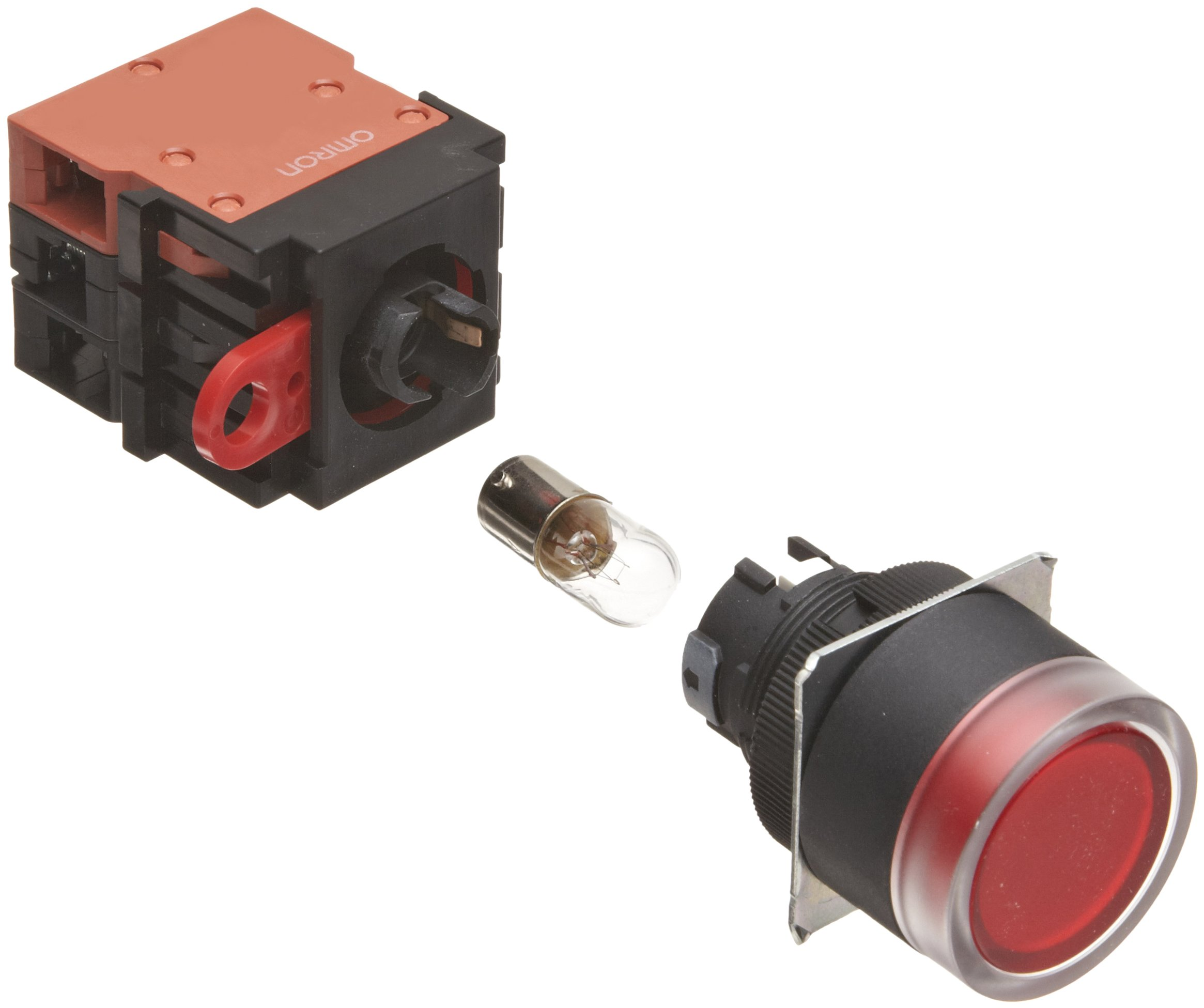 Omron A22L-GR-24-11M Full Guard Type Pushbutton and Switch, Screw Terminal, Incandescent Lighted, Momentary Operation, Round, Red, 24 VAC Rated Voltage, Single Pole Single Throw Normally Open and Single Pole Single Throw Normally Closed Contacts