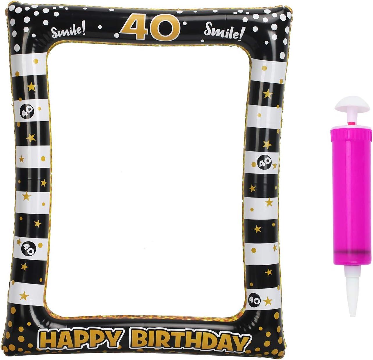 CINMOK Photo Booth Decoracion Cumpleaños de Marco Inchable Negro, Regalos Económico Feliz Cumpleaños, Photocall Inflable para Fiesta de 40 Años.