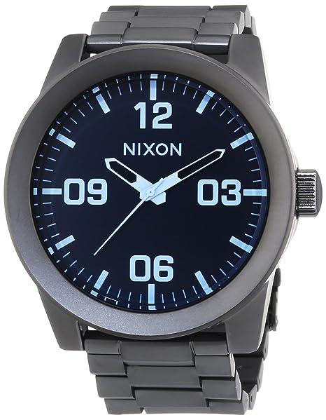 Nixon Corporal SS Gunmetal Blue Crystal - Reloj de cuarzo para hombre, correa de acero