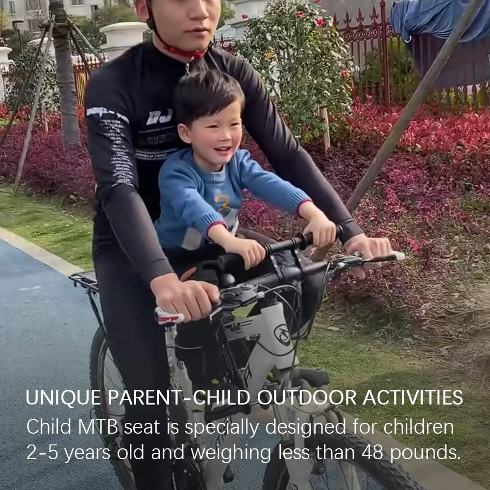 Compatible with All Adult MTB GemonExe Front Mounted Child Bike Seat with Handlebar Combo Pack,Detachable Kids Bike Seat with Foot Pedals for Children 2-5 Years up to 48 Pound