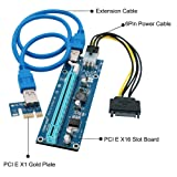 Jsdoin PCI-E Riser 1x to 16x Powered PCI E Riser Adapter Card 60cm USB 3.0 Power Cable SATA 15 Pin-6Pin Power Adapter Cable