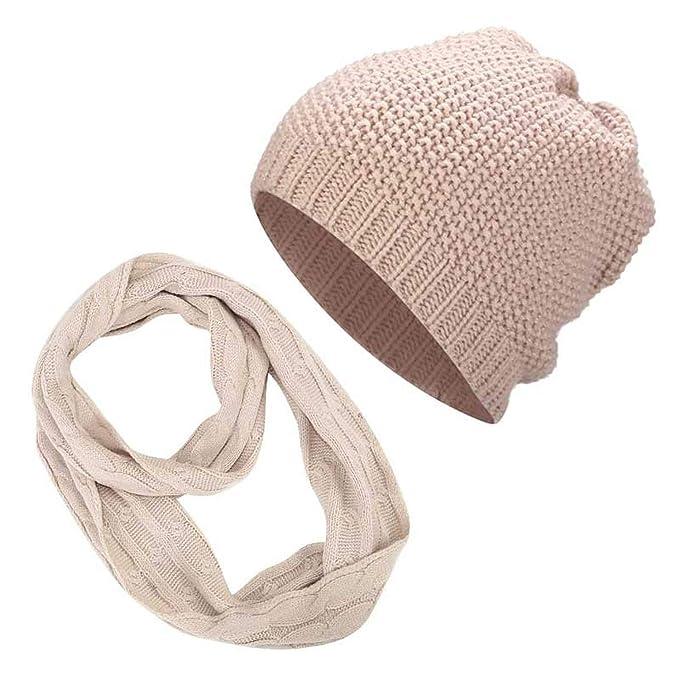 0040425de1d Messy Bun Ponytail Beanie Winter Hat Scarf Set Women Crochet Warm Cap Knit  Ring Scarves Hats