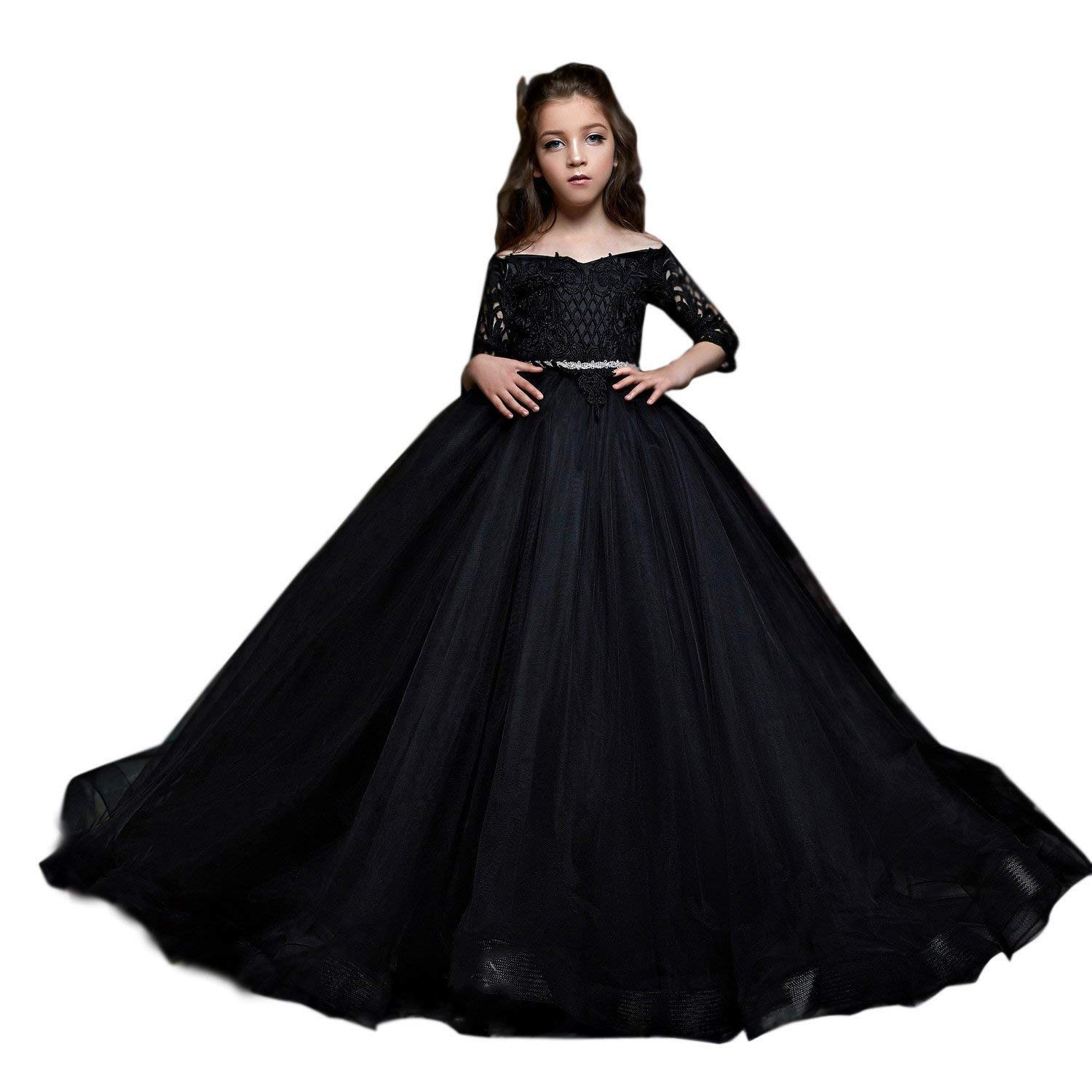 Amazon.com hengyud Black Pageant Dresses for Little Girls