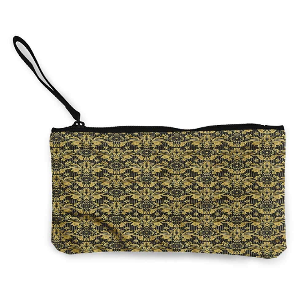 Purse Wallet Canvas Damask,Antique Baroque Curves,Coin bag For Girls,Ladies,Womens