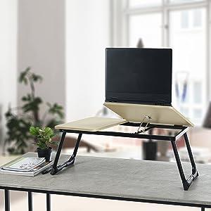 HOMEMAKE FURNITURE Laptop Desk Large Laptop Table Adjustable Portable Breakfast Serving Bed Tray Foldable Beech Black
