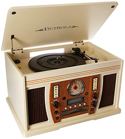Itinnovative Technology Victrola Nostalgic Aviator Wood 7 In 1 Bluetooth Turntable Record Player Entertainment Center Antique White Renewed