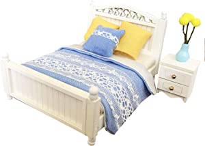 Inusitus DIY Dollhouse Queen Bed Kit | Miniature Furniture | Dolls House Kits | Requires Assembly | 1/18 Scale (Double-Bed)