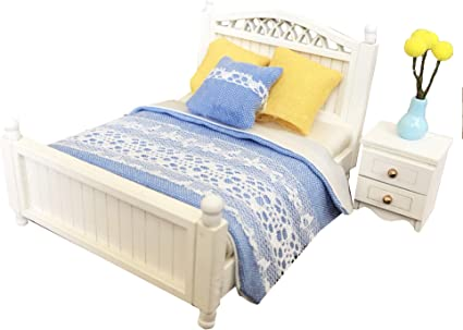 Inusitus Miniature Dollhouse Bed 1 Scale Children Toy Dolls House Furniture Double Bed Dark