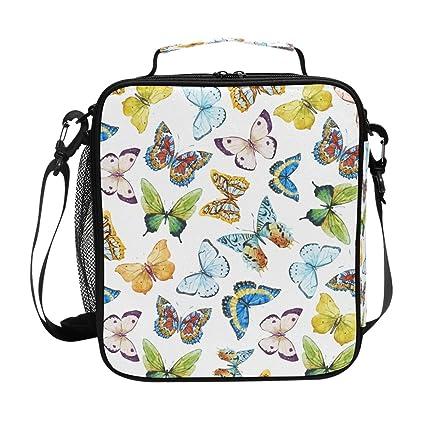 dc69cc6e02f8 Amazon.com: Colorful Beautiful Butterflies Lunch Bag with Zip ...