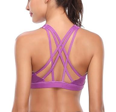 121fdd07cacd8 Zida Women s Sports Bra Strappy Activewear Workout Yoga Sport Bra at ...