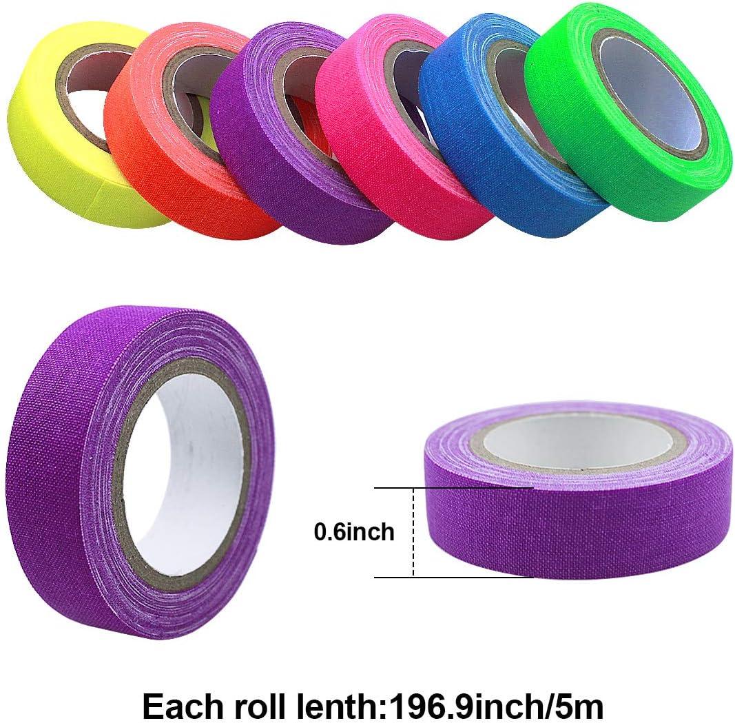 6/Rolls/Fluorescent/Cloth/Tape,/Luminous/Neon/Gaffer/Tapes,/Self/Adhesive/UV/Blacklight/Reactive/Spike/Tape/Glow/in/The/Dark,/Waterproof/Gaffer/Ta