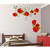 Decals Design 'Flowers Roses Valentines Love Romantic with Green Leaves' Wall Sticker (PVC Vinyl, 60 cm x 90 cm x 1 cm)