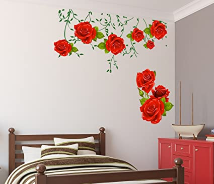 Decals Design Flowers Roses Valentines Love Romantic with Green Leaves Wall Sticker (PVC Vinyl, 60 cm x 90 cm x 1 cm)