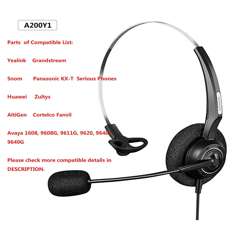 Arama Telefoni Cuffia Monaural con Rumore che Annulla per Avaya 1616 9650  Cisco 7902 7912 Yealink T41 Snom 870 Grandstream GXP1400 Panasonic KXT  Huawei C58 ... 34f6496de8d0
