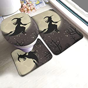 Bathroom Rugs and Mats Sets 3 Piece Witch with A Broom Happy Halloween Bath Mat Rug Non Slip Washable Toilet Seat Cover Rugs U Shaped Bathmats Carpets Contour Floor Mats for Bathroom Decor