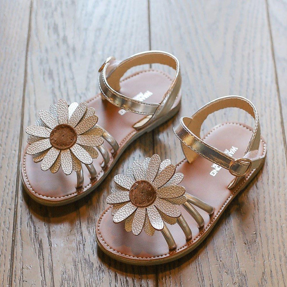 Hauzet Summer Kids Baby Girls Sandals Flower Roman Sandals PU Crystal Princess Shoes