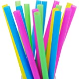 "100 Extra Large Plastic Bubble Tea Smoothie Milkshake Straws, 1/2"" Wide X 8 1/2"" Long Boba Straws"