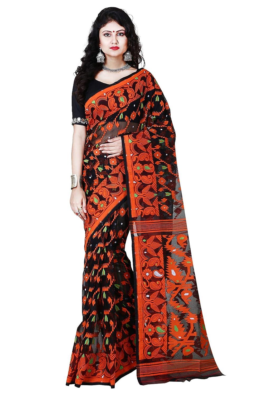 cd15cf071ed25 RLB Fashion Women s Cotton Silk Handloom Dhakai Jamdani Saree (Black    Orange)  Amazon.in  Clothing   Accessories