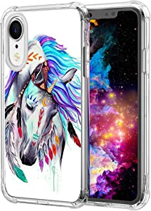 iPhone XR Case,Colorful Horse Art Pattern Clear with Design Transparent Plastic iPhone XR Case TPU Bumper Protective Case,Compatible with Apple iPhone XR