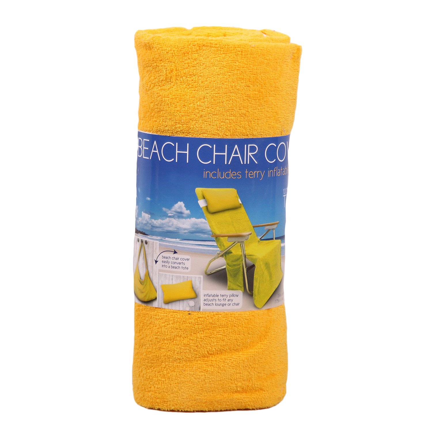 Amazon.com: Beach Chair Cover Includes Terry Inflatable Pillow Cover  Converts To A Beach Tote  Yellow: Home U0026 Kitchen