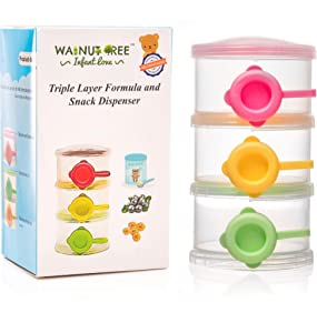 Formula Powder Dispenser Large Baby On-The-Go Milk| Travel & Snack Stackable Storage Organizer, 3 BPA Free Non-Spill Compartments, Leak Free, Yellow, Pink/Red, Green