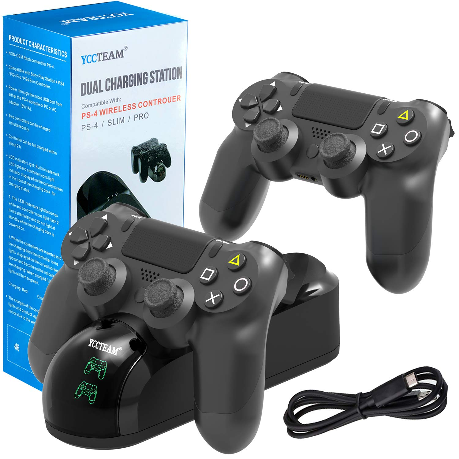 PS4 Controller Charger, DualShock 4 USB Charging Station Dock for Sony Playstation 4/PS4 Slim/PS4 Pro Controller