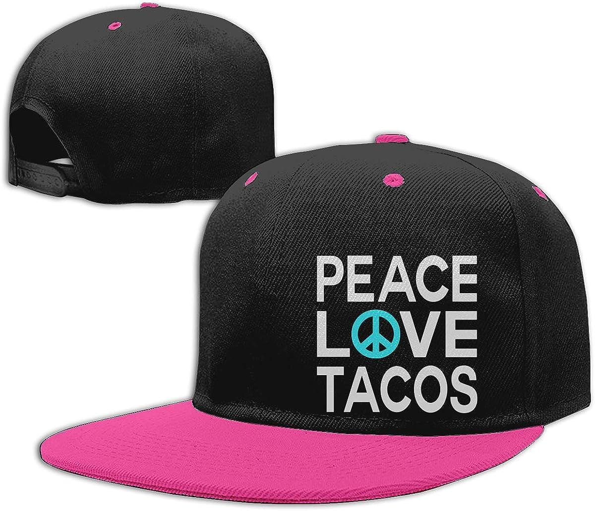 Men Womens Punk Rock Cap Peace Love Tacos Fashion Flat Bill Baseball Caps