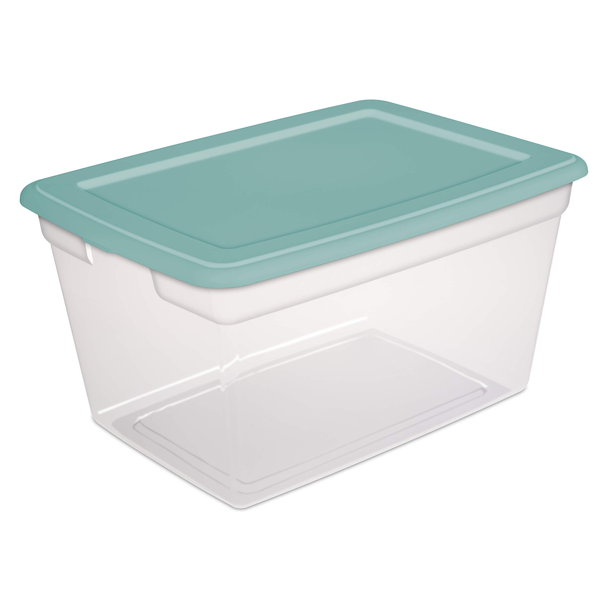 Sterilite 58 Quart Storage Box- Aqua Blue Tint, Set of 8