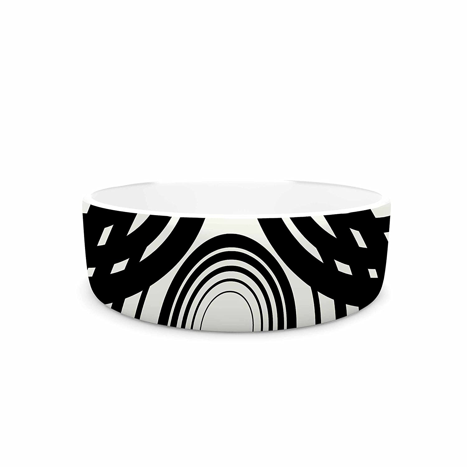 KESS InHouse Kathryn Pledger Mono Geo Black White Geometric Pet Bowl, 7  Diameter
