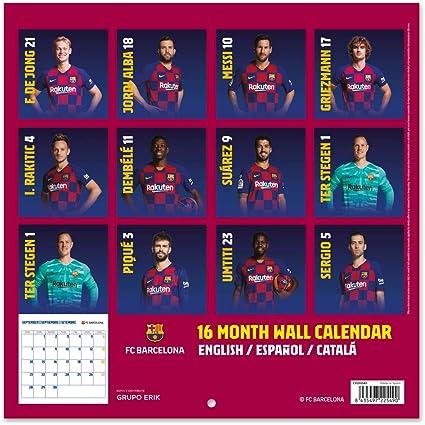 Erik CP20040 - Calendario de Pared 2020 FC Barcelona, 30 x 30 cm: Amazon.es: Oficina y papelería