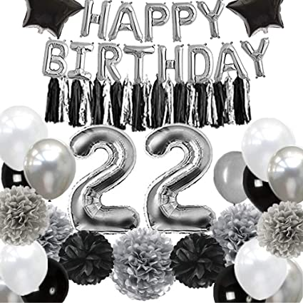 Amazon.com: 22 decoraciones de cumpleaños para hombre, negro ...