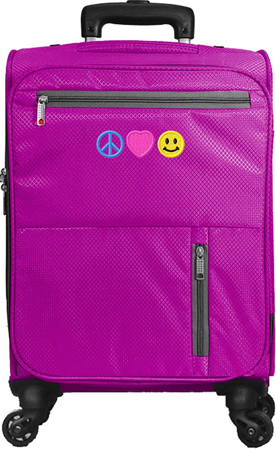 Kids Travel Zone Little Girls Peace Love Happiness Spinner Suitcase in Purple