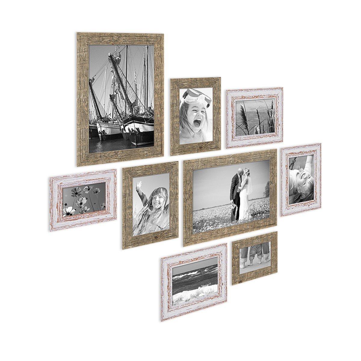 Amazon.de: PHOTOLINI 9er Set Bilderrahmen für Grosse Bilderwand ...