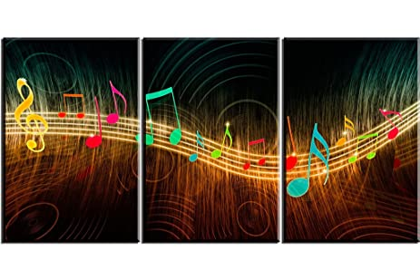 Music Wall Art For Living Room PIY Beautiful Canvas Prints Painting Of Musical Notes Beating