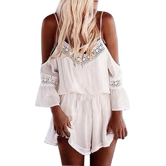 Minetom Mujer Moda Verano Playsuits Fuera Del Hombro Tejer Cabestro Mono (ES 34, Blanco