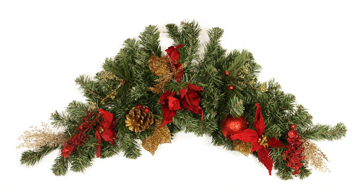 36'' Pre-Decorated Pine, Red Poinsettia, Eucalyptus and Gold Pine Cone Artificial Christmas Swag - Unlit