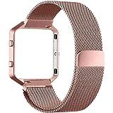 Fitbit Blaze Band (6,7-8,1 pollici), PUGO TOP Milanese Loop acciaio cinturino in acciaio per Fitbit Blaze smart fitness Watch, Fitbit Blaze Banda sostituzione con unico magnete di blocco