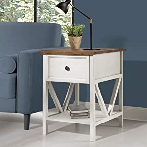 "Walker Edison Furniture Company AZF19NATSTWWR Solid Wood 1-Drawer Nightstand End Table, 25"" H, Reclaimed Barnwood/White Wash"