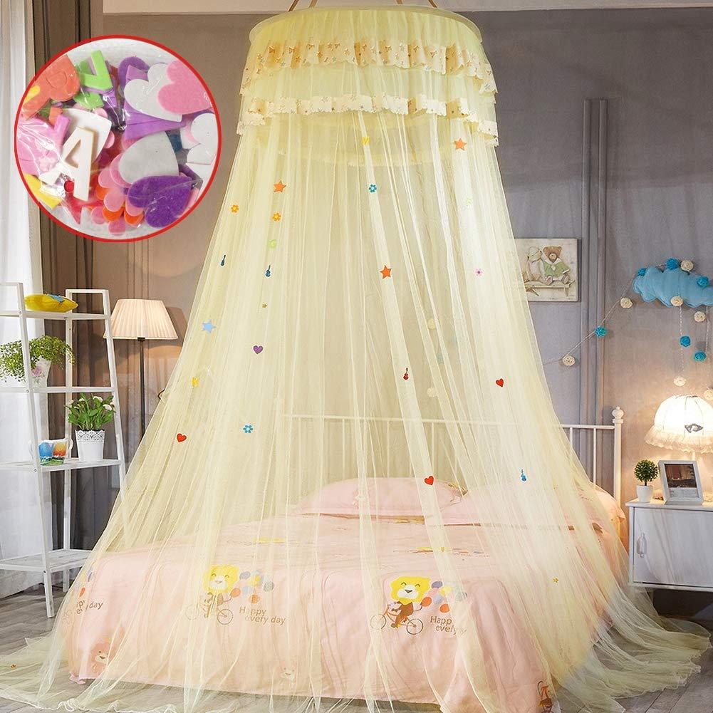 GLXQIJ 0.9-1.5m Bed Universal Mosquito Net Princess Bed Play Tent Hammocks Cribs Room Decoration for Children Girls,Yellow