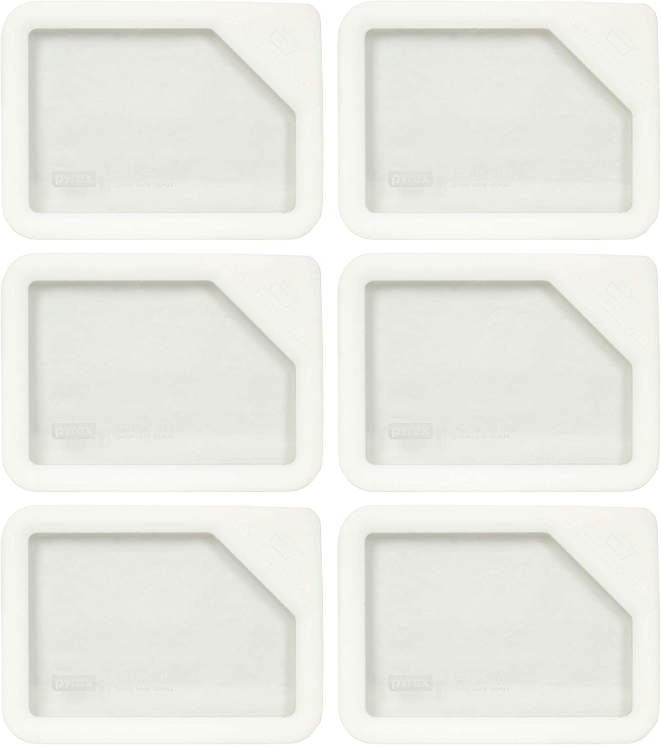Pyrex Ultimate OV-7210 White Rectangle Glass Storage Lids - 6 Pack (Lids Only - Dishes NOT Included)