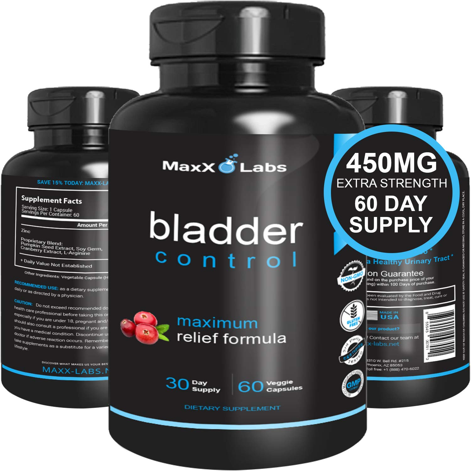 Bladder Control For Women - Potent Blend of L-Arginine, Cranberry Extract, and Pumpkin Extract - Useful for Urinary Tract Infection Treatment - 60 Caps