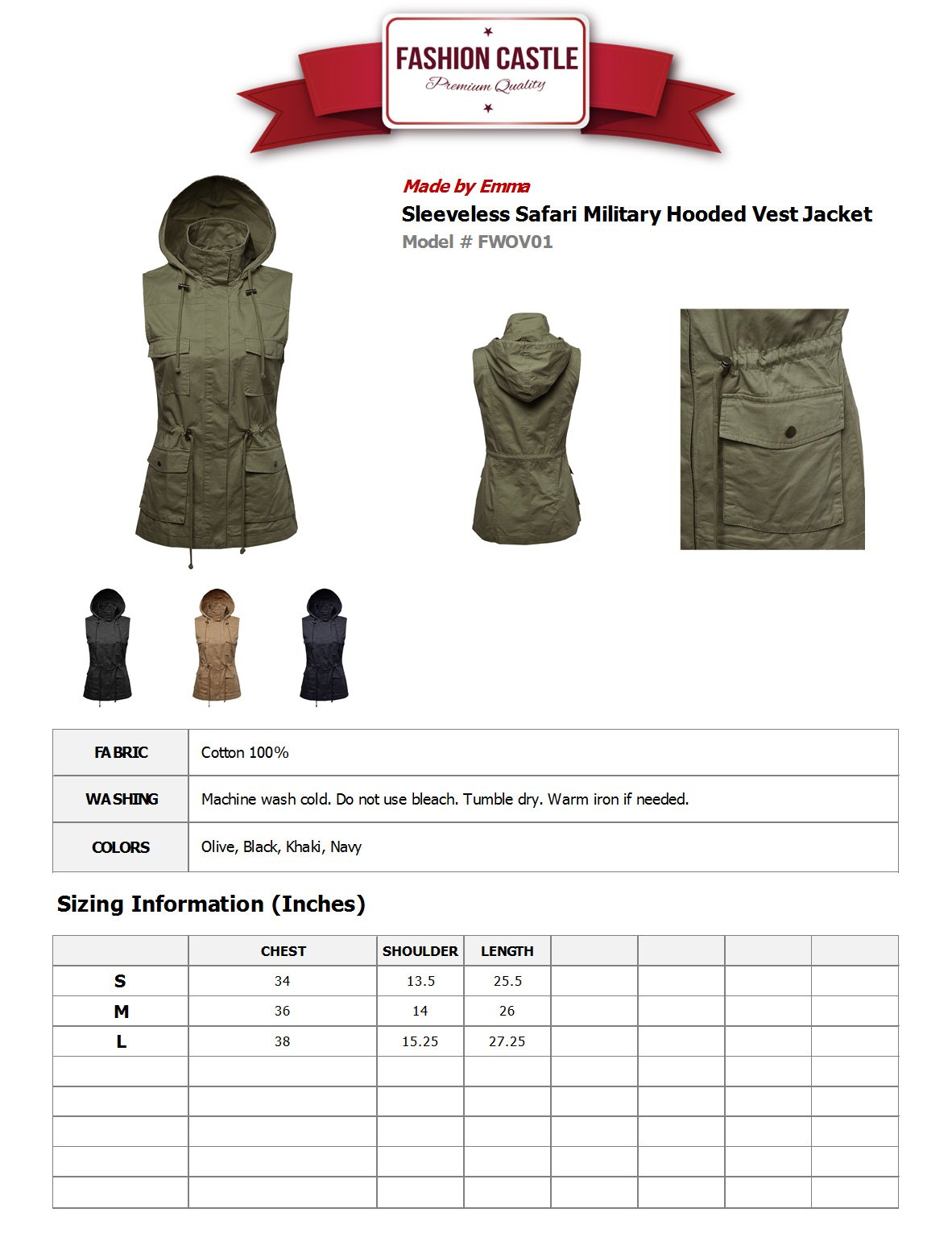 Sleeveless Safari Military Hooded Vest Jacket Mustard M by Made by Emma (Image #5)