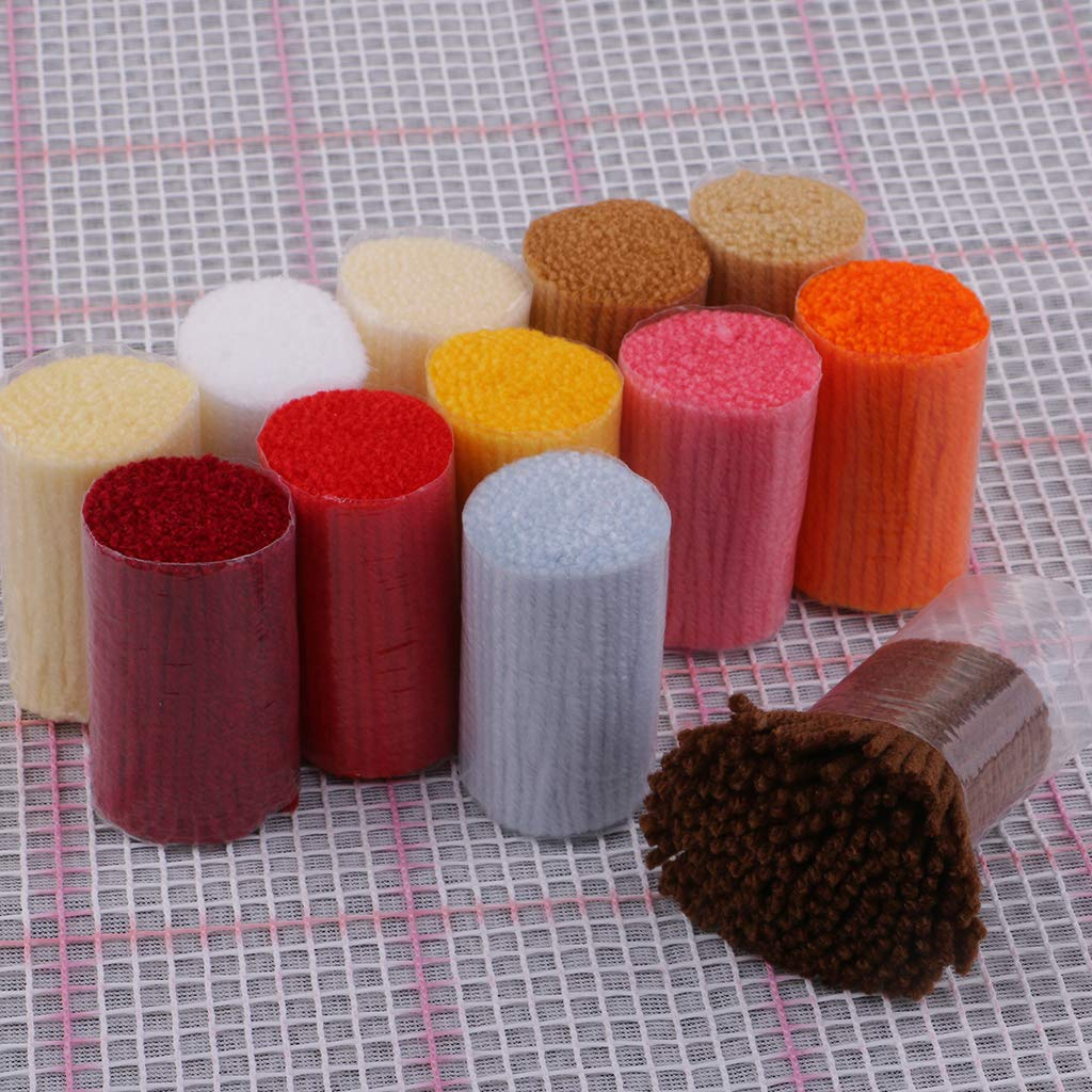 perfektchoice 17 x 17 inch Latch Hook Rug Kits Bear and Balloon Carpet Making